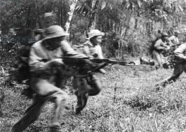 Tet Offensive, National Front for the Liberation of South Vietnam, Viet Cong Soldiers Charging the Enemy in South Vietnam, 1968.