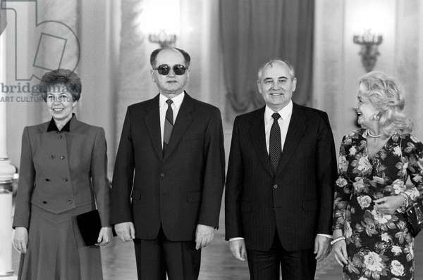 Wojciech Jaruzelski, Mikhail Gorbachev, Raisa Gorbacheva And Barbara Jaruzelski At The Kremlin