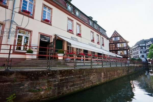 Hotel and Half-Timbered Houses Along the Ill River in the Little France, Strasbourg, France (photo)