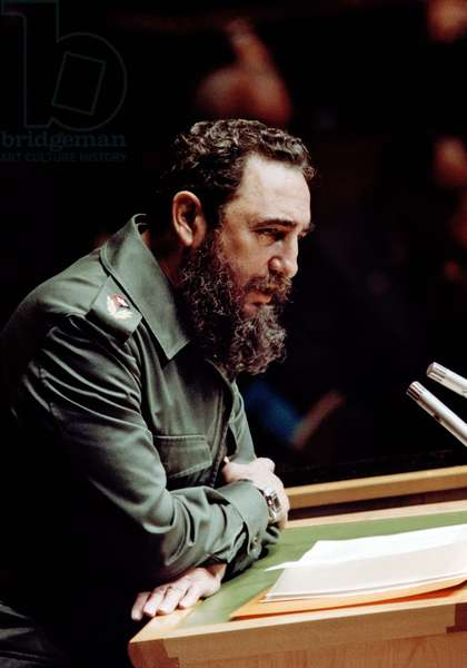 Fidel Castro the Cuban leader addresses the United Nations General Assembly in New York 1960