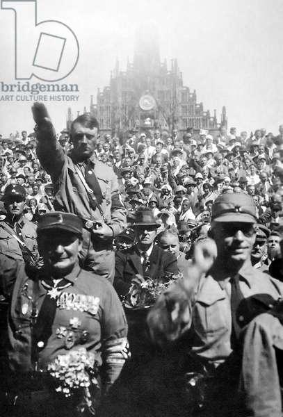 German Nazi leader and Chancellor Adolf Hitler, at Nazi party rally