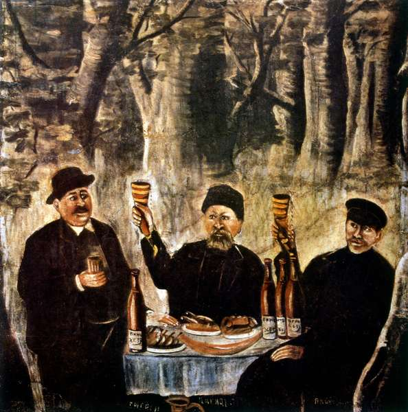 Feast of the four town elders 1904, by Niko Pirosmani (1862–1918), Russian, Georgian primitivist painter, who posthumously rose to prominence.