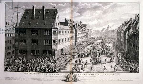 18th century illustration of Louis XV, King of France, Reigned 1715-1774 processing through Rue de Strasbourg, Paris. Louis XV (15 February 1710-10 May 1774), known as Louis the Beloved, was a monarch of the House of Bourbon who ruled as King of France from 1 September 1715 until his death in 1774