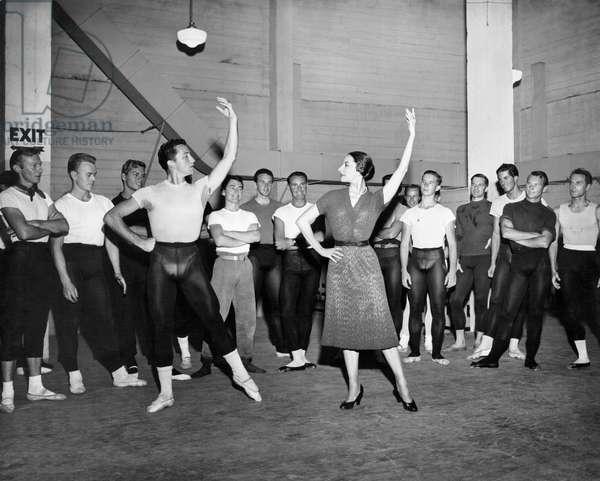 Classical Dance Class, Hollywood, California, USA, c.1955 (b/w photo)