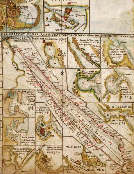 Portuguese Map of the Red Sea, The Middle east, 1630