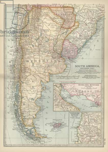 Map of the southern part of South America