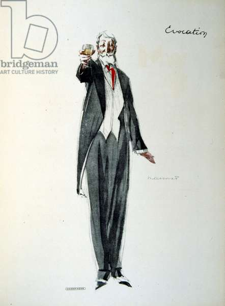 French 1930's illustration of a wealthy man holding a glass of champagne.