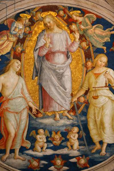 Jesus-Christ with the Justice and the Mercy, Detail of the celling, Room of the Fire in the Borgo, Vatican Museum (photo)