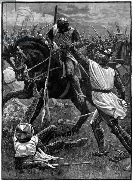 The Battle of Evesham, 4 August 1265. (c1800). Evesham marked the end of the Second Barons' War. Royalist forces led by Prince Edward (Edward I) defeated Simon de Montfort (c1208-1265) who was slain in the battle. Here Henry III (1207-1272) who had been Montfort's prisoner, stumbles through the battle wounded and confused.