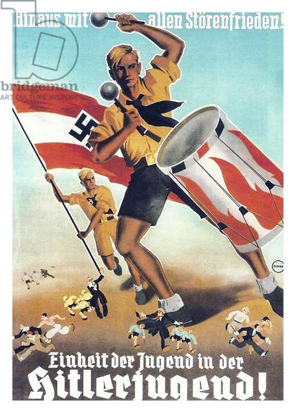 Colour Hitler Youth poster from the Second World War