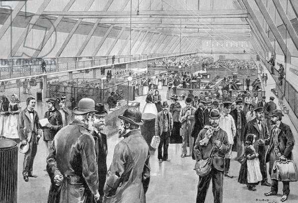 Great Hall, Ellis Island Immigration Station, USA, historic wood engraving, about 1897 ©Uig/Leemage