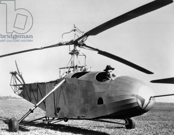 Igor Sikorsky in the Cockpit of One of the World'S First Helicopters that He Built, the Bc-300, 1943.
