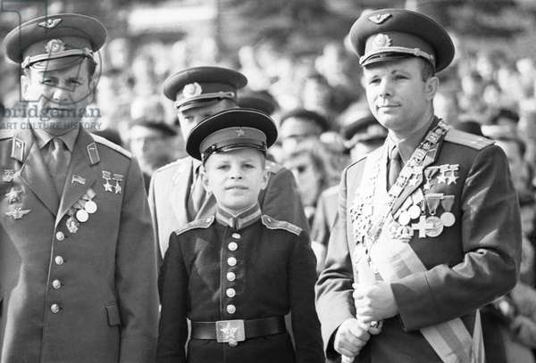 Yuri Gagarin And Pavel Popovich At May Day Parade In Moscow