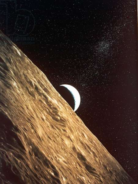 Earth rise seen from surface of Moon: Apollo Mission 1969. NASA photograph