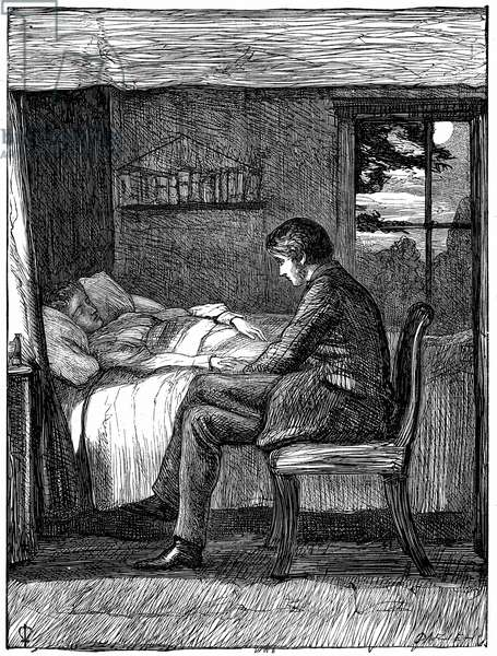 Will watching and listening at his friend's deathbed. Illustration by John Everett Millais (1829-1896) English artist and founder member of Pre-Raphaelite Brotherhood, for Owen Meredith's poem Last Words from The Cornhill Magazine, London, November 1860. Owen Meredith pseudonym of Edward Robert Bulwer Lytton (1831-1891) lst Earl Lytton. Engraving