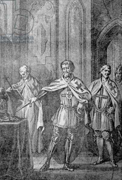 German knights swear oaths as crusaders 12th Century