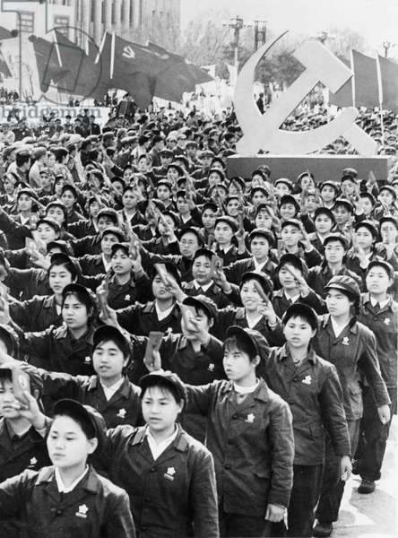 People Holding Up Mao'S Little Red Book During a May Day Demonstration in Beijing, China, May 1, 1969, Cultural Revolution.
