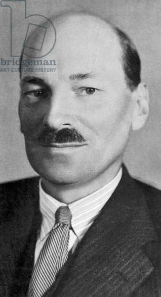Clement Atlee (1883-1967) British Labour statesman: Deputy prime minister in wartime cabinet under Churchill (1842-1945): prime minister 1945-1951. Member of Parliamnet for Limehouse