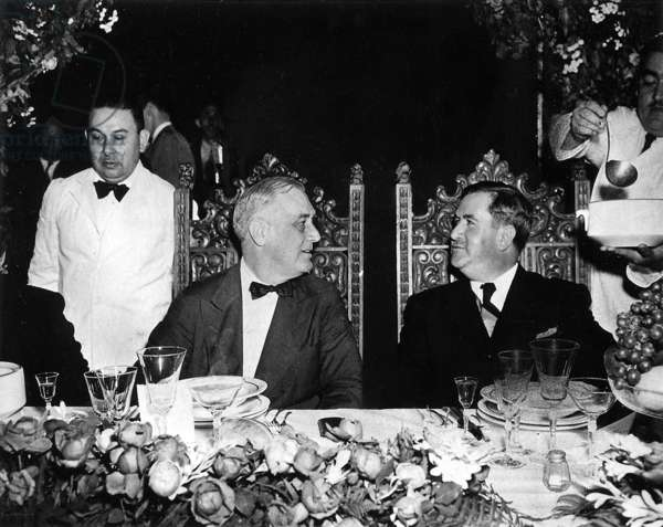 President of Mexico in Monterrey, having dinner with US president Franklin D Roosevelt