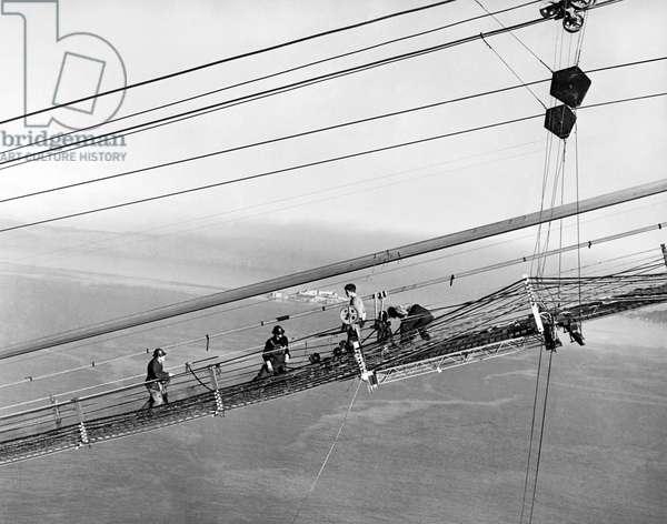Golden Gate Bridge Work, San Francisco, California, 1937 (b/w photo)