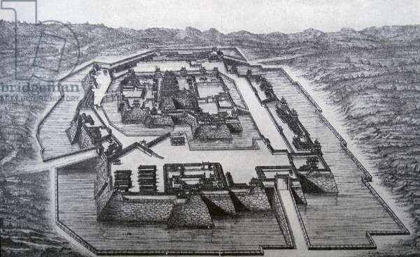 Illustration depicting the Osaka Castle captured by the conquering Tokugawa Ieyasu