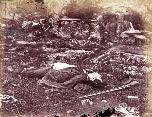 A deceased sharpshooter during the Battle of Gettysburg