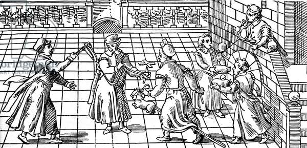 Children's games in the 16th century: from left to right are shown rattle, windmill, hobby-horse, and boy blowing soap bubbles using a reed.