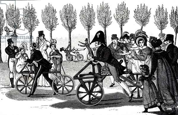An engraving depicting velocipedes ridden in the Luxembourg Gardens, 19th century
