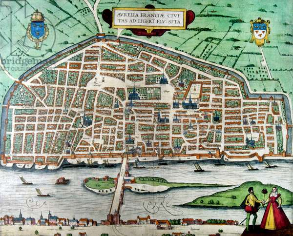 16th century plan of the city of Orleans in France. The city walls are visible.