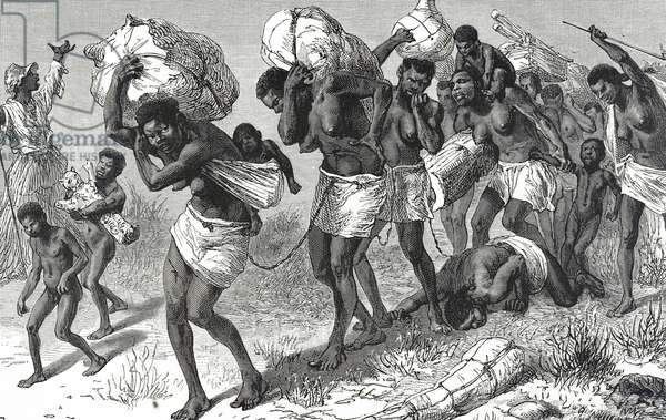 Engraving depicting female slaves from Central Africa, 19th century