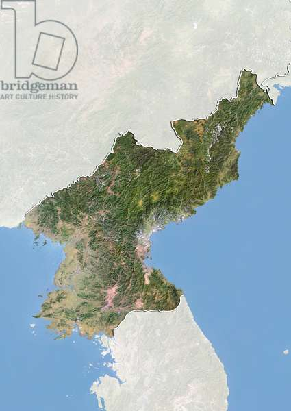 Satellite view of North Korea with Bump Effect (with border and mask). This image was compiled from data acquired by LANDSAT 5 & 7 satellites ©Planet Observer/UIG/Leemage