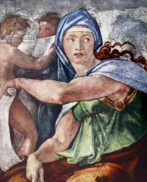 The Delphic Sibyl (detail from the Sistine Chapel, Vatican, Rome) 1509 by Michelangelo (1475-1564).