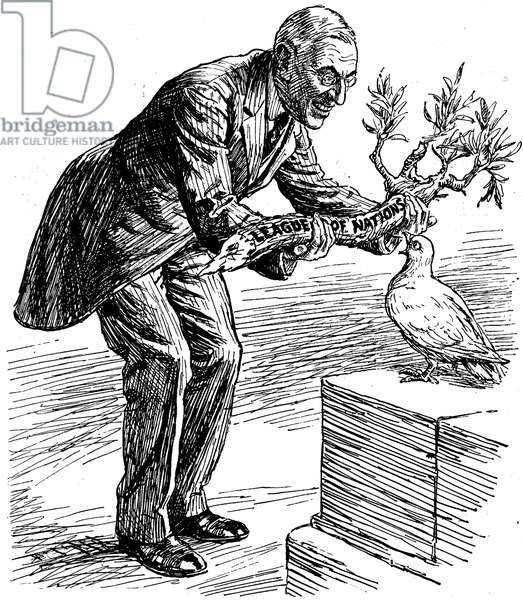 US President Wilson giving the Dove of Peace an olive branch labelled 'League of Nations'. The Dove says 'Of course I want to please everybody: but isn't this a bit thick?' Cartoon from 'Punch', London, 26 March 1919.