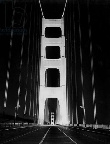 Golden Gate Bridge At Night, San Francisco, California, May 26, 1937 (b/w photo)