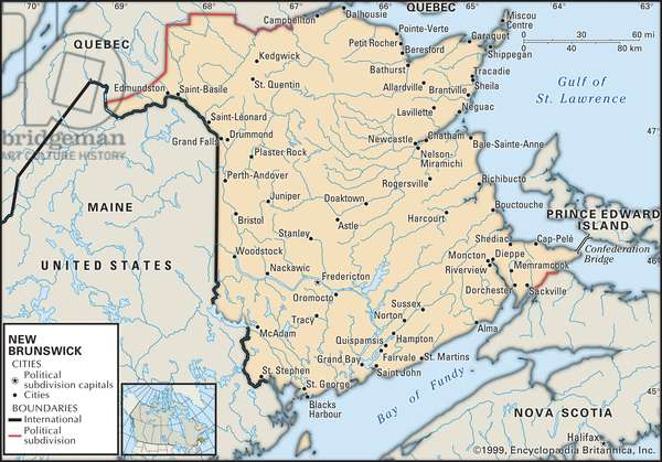 Political map of New Brunswick