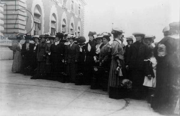 East European immigrants at Ellis Island, New York, USA, 1900.