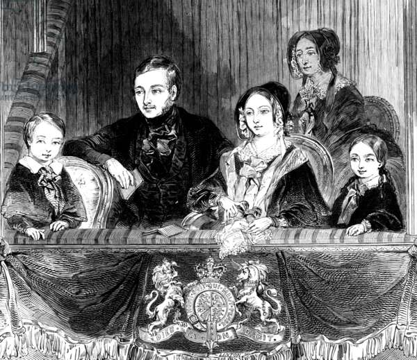 Queen Victoria and Prince Albert with their two eldest children at Astley's Theatre