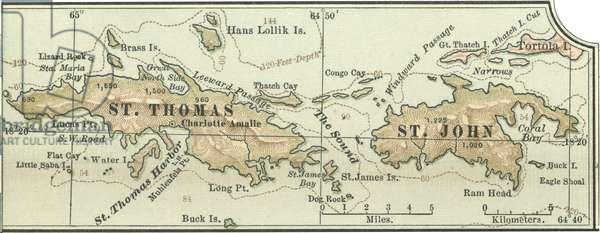 Map of Saint Thomas and St. John Islands