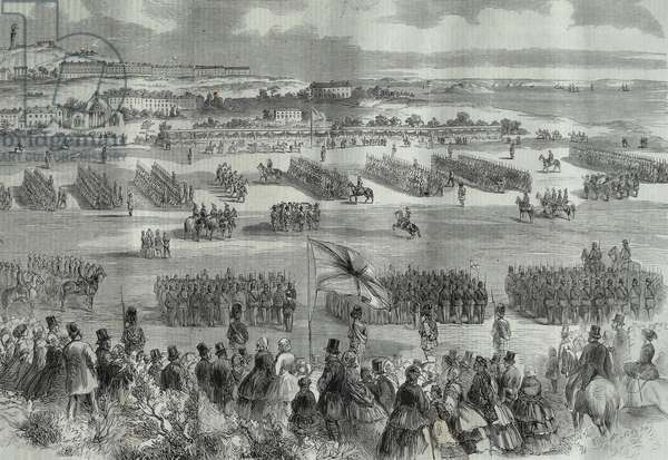 A military review of British  soldiers in Scotland, at Edinburgh attended by Queen Victoria 1860