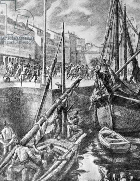 Spanish Civil War: Boat sirens sound again as civilians run for cover during an air raid in a Spanish coastal town. Drawing by Valverde 1937
