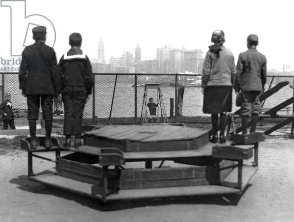 Immigrants At Ellis Island (b/w photo)