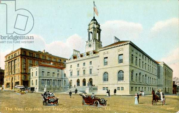 Postcard showing the Masonic Temple and city hall in Portland, Maine USA 1910. Freemasonry or Masonry consists of fraternal organisations that trace their origins to the local fraternities of stonemasons, which from the end of the fourteenth century