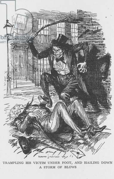 Robert Louis Stevenson The Strange Case of Dr Jekyll and Mr Hyde first published 1886. Mr Hyde clubbing Sir Danvers Carew to death with ape-like fury observed by a maidservant at full moon. Illustration by Edmund J Sullivan from an edition published 1928.