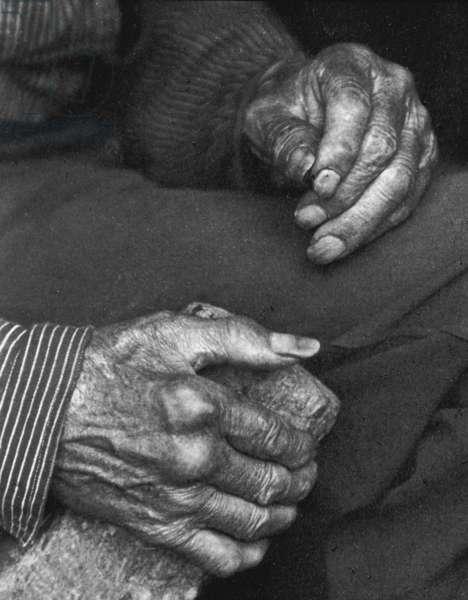 A labourer's hands, 1925 (b/w photo)
