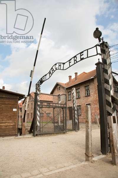 Main Gate With the 'arbeit Macht Frei' Slogan Over It, Auschwitz Concentration Camp, Oswiecim, Malopolska, Poland (photo)