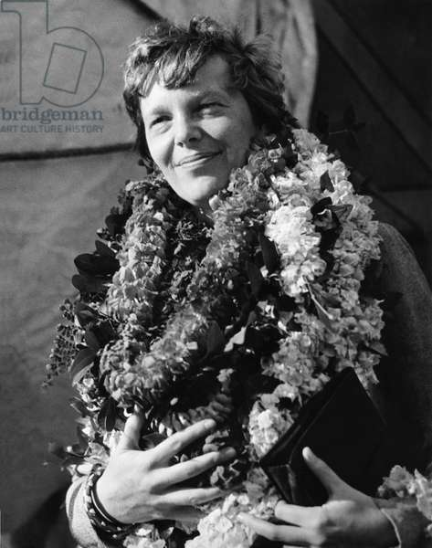Earhart Arrives In Hawaii (b/w photo)
