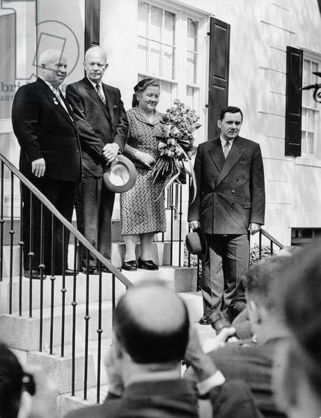 Left to Right: Nikita Khrushchev, Chairman of USSR Council of Ministers, Dwight D, Eisenhower, President of the United States, Mrs, Khrushchev, and USSR Foreign Minister Andrey Gromyko, Washington D, C, , Usa, September 1959, Khrushchev Visit to Us.