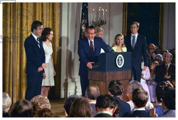 President Richard Nixon announces his resignation as President