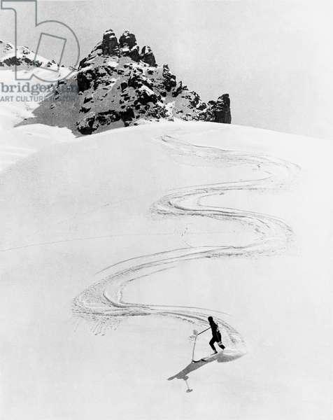 Ski Trail Down A Mountain (b/w photo)