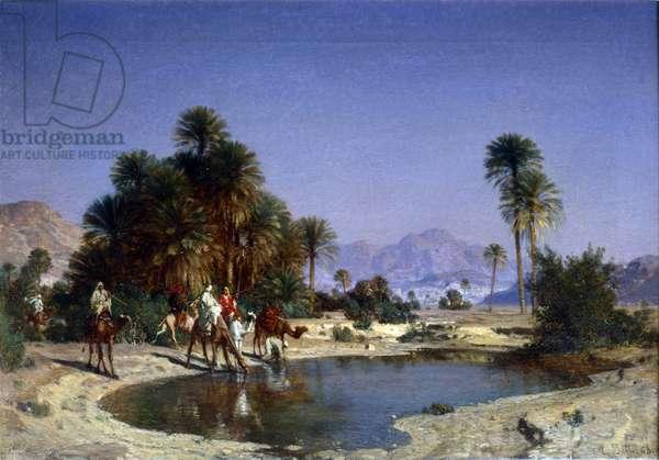 Leon-Adolphe Belly the caravan in the desert oasis